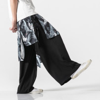 Casual pants Others Youth fashion White, black, peacock blue, navy M,L,XL,2XL,3XL,4XL,5XL routine trousers Other leisure Straight cylinder No bullet K71MS autumn Large size Chinese style 2019 middle-waisted Straight cylinder Haren pants printing washing Animal design Cotton and hemp