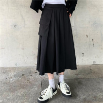 skirt Winter 2020 S,M,L Grey, black Mid length dress Versatile High waist Pleated skirt Solid color 71% (inclusive) - 80% (inclusive) other