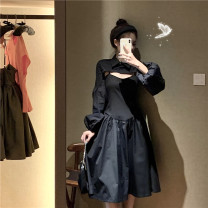 Fashion suit Summer 2020 S,M,L Black half top shirt, black suspender dress