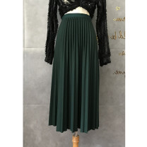 skirt Spring 2021 Average size Mid length dress commute High waist Pleated skirt Solid color Type A Korean version