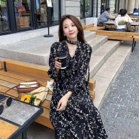 Dress Autumn 2020 Black, gray S,M,L,XL,2XL,3XL Mid length dress singleton  Long sleeves commute V-neck Broken flowers Socket straps Type A Other / other Korean version