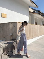 Casual pants Grey purple blue black Average size Summer of 2018 trousers Wide leg pants High waist commute Thin money 18-24 years old MIKA STUDIO other