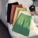 skirt Spring 2021 S,M,L,XL Green, apricot, yellow, red, black, pink, blue Short skirt commute High waist A-line skirt Solid color Type A 18-24 years old zipper Korean version