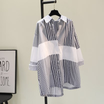 shirt Navy Stripe, blue stripe, green stripe Average size Spring 2021 cotton 81% (inclusive) - 90% (inclusive) Long sleeves commute Medium length Single row multi button Bat sleeve stripe Korean version Cotton and hemp