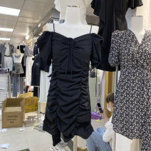 Dress Spring 2021 Black, white S,M,L longuette singleton  Long sleeves commute V-neck High waist Solid color Socket A-line skirt routine 18-24 years old Type A Button 81% (inclusive) - 90% (inclusive) polyester fiber