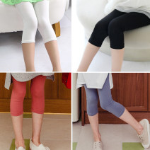 trousers Kapok Kor female 110cm,120cm,130cm,140cm,150cm,160cm,165cm Blue, black, white, brick red summer Cropped Trousers Simplicity There are models in the real shooting Leggings Leather belt middle-waisted cotton Don't open the crotch Cotton 95% other 5% K042201 Class B Chinese Mainland