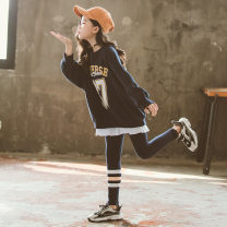 suit Kapok Kor Dark blue, dark blue Plush 110cm,120cm,130cm,140cm,150cm,160cm,165cm,170cm female spring and autumn Korean version Long sleeve + pants 2 pieces routine There are models in the real shooting Socket nothing other cotton children Giving presents at school T20090102 Class B