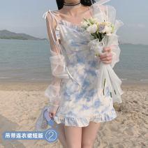 Dress Summer 2021 XS,S,M,L,XL longuette singleton  Short sleeve commute One word collar High waist Socket A-line skirt pagoda sleeve Type A 31% (inclusive) - 50% (inclusive)