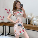 Dress Summer 2021 Pink, green, red S,M,L,XL,2XL Short skirt singleton  Short sleeve commute stand collar High waist Decor One pace skirt Others 18-24 years old Type H Retro 81% (inclusive) - 90% (inclusive) brocade polyester fiber