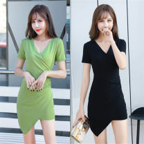 Dress Spring 2020 Green, pink, black S,M,L,XL Short skirt singleton  Short sleeve commute V-neck High waist Solid color Socket Irregular skirt routine Others 18-24 years old Type A Ol style Splicing, asymmetric 81% (inclusive) - 90% (inclusive) knitting modal