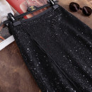 skirt Autumn of 2019 S,M,L,XL black Mid length dress gorgeous Natural waist A-line skirt Solid color Type A 30-34 years old 1021-B17-A3 other polyester fiber Sequins