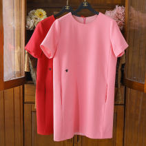 Dress Autumn 2020 Red, green, white, black, pink S,M,L,XL Mid length dress singleton  Short sleeve commute Crew neck Loose waist Solid color Socket One pace skirt routine Others 25-29 years old Type A lady Embroidery 0520-B39-A5 91% (inclusive) - 95% (inclusive)