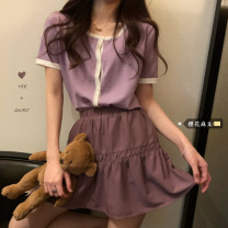 Fashion suit Summer 2021 Average size Blue top, purple top, pink top, dark blue skirt, purple skirt, white skirt 18-25 years old 81% (inclusive) - 90% (inclusive)
