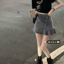 skirt Spring 2021 S,M,L Wash blue Short skirt High waist Solid color Type A 18-24 years old fold