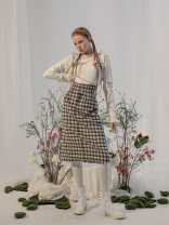 skirt Winter 2020 XS,S,M,L Azure grey longuette Sweet High waist A-line skirt lattice Type H 18-24 years old 71% (inclusive) - 80% (inclusive) Wool Other / other wool Pocket, button Lolita