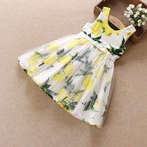 Dress Pink lemon yellow lemon Other / other female 110cm 120cm 130cm 140cm 150cm Cotton 100% summer Versatile Skirt / vest Broken flowers Pleats five thousand five hundred and sixty-seven Class A