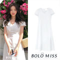 Dress Summer 2020 white S,M,L,XL longuette singleton  Short sleeve commute V-neck High waist Solid color zipper A-line skirt routine Others 18-24 years old Korean version Bowknot, Auricularia auricula, lace, stitching, strap, zipper 81% (inclusive) - 90% (inclusive) other