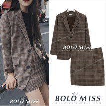 suit Autumn of 2019 S,M,L,XL Long sleeves routine Straight cylinder Polo collar Single breasted commute routine lattice 18-24 years old 31% (inclusive) - 50% (inclusive) Other / other