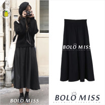 skirt Spring 2020 S,M,L,XL black Mid length dress commute High waist A-line skirt Solid color Type A 18-24 years old Korean version