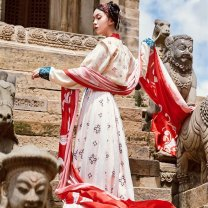 National costume / stage costume Summer of 2019 Brocade vest in stock, blouse in stock, waist length skirt in stock, printed silk drape in stock S. M, l, average size The flower Dynasty