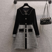Women's large Spring 2021 black Large XL, large L, large 2XL, large 3XL, large 4XL Dress singleton  commute easy moderate Socket Nine point sleeve Solid, plaid Korean version Polo collar Medium length Collage other Medium length other