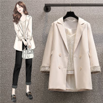 Women's large Spring 2021, summer 2021 Apricot coat, Sequin sling, apricot two piece set Large L, large XL, large 2XL, large 3XL, large 4XL suit Two piece set commute easy moderate Cardigan Nine point sleeve Solid color Korean version V-neck polyester Three dimensional cutting routine Sequins