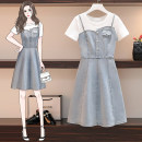 Women's large Summer 2021 Picture color Large XL, large L, large 2XL, large 3XL, large 4XL Dress Fake two pieces Sweet easy moderate Socket Short sleeve Solid color Denim Three dimensional decoration Middle-skirt