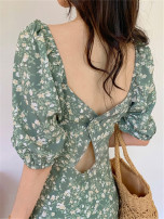 Dress Summer 2021 Green floral skirt S,M,L,XL,2XL Mid length dress singleton  Short sleeve commute square neck High waist Broken flowers A button A-line skirt puff sleeve Others 18-24 years old Type A Retro LQY30917 51% (inclusive) - 70% (inclusive) other