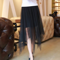 skirt Summer of 2019 Average size Middle-skirt commute Irregular Solid color 51% (inclusive) - 70% (inclusive) other silk Splicing