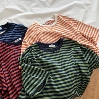 T-shirt Average size Summer 2020 Short sleeve Crew neck easy Medium length routine commute cotton 86% (inclusive) -95% (inclusive) Korean version classic Thick horizontal stripe