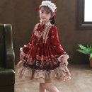 Dress Red, red plush, red + model headdress, red plush + model headdress, red short sleeve, red short sleeve + model headdress female Doveark 110cm,120cm,130cm,140cm,150cm,160cm Polyester 100% spring and autumn princess Long sleeves Broken flowers Cotton blended fabric A-line skirt Class B