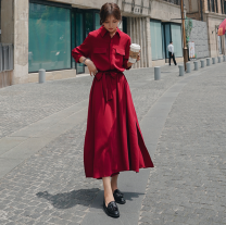 Women's large Spring 2020, winter 2020, autumn 2020 Red, black, peacock blue M [85-100 Jin], l [100-120 Jin], XL [120-140 Jin], 2XL [140-160 Jin], 3XL [160-180 Jin], 4XL [180-200 Jin] Dress singleton  commute easy moderate Cardigan Long sleeves Solid color Retro Polo collar Medium length shirt sleeve