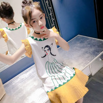 Dress Contrast print yellow 4038 female Cuosha / millet yarn Polyester 100% summer Korean version Skirt / vest other other XQZ4036 Summer of 2019 3 years old, 4 years old, 5 years old, 6 years old, 7 years old, 8 years old, 9 years old, 10 years old, 11 years old, 13 years old, 14 years old