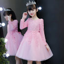 Dress female Hailun bebe Polyester 100% winter princess Long sleeves Solid color polyester A-line skirt Class B 2, 3, 4, 5, 6, 7, 8, 9, 10, 11, 12, 13, 14 years old