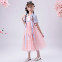Tang costume Pink, pink 100,110,120,130,140,150,160 Polyester 100% female summer There are models in the real shooting Thin money other Class B Broken flowers YH208 2, 3, 4, 5, 6, 7, 8, 9, 10, 11, 12, 13, 14 years old Chinese Mainland Guangdong Province Shantou City
