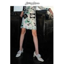 skirt Summer of 2019 S, M Short skirt Retro Natural waist Animal design More than 95% brocade polyester fiber Button