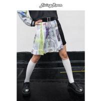 skirt Autumn of 2019 S, M black Short skirt street Natural waist Pleated skirt other More than 95% other polyester fiber Fold, asymmetry, print Hip hop