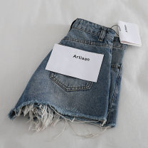 Jeans Summer 2021 blue 24,25,26,27,28,29 shorts Natural waist Wide legged trousers routine washing Ocnltiy