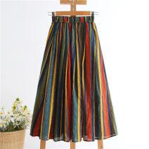 skirt Summer 2021 XS,S,M,L,XL,2XL Navy Blue longuette gorgeous A-line skirt stripe Type A More than 95% Ocnltiy cotton
