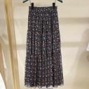 skirt Spring 2021 1 / XS, 2 / s, 3 / m, 4 / L, 5 / XL Decor Mid length dress Retro High waist Pleated skirt Broken flowers Type H More than 95% other Xgirdearst / heathy other printing