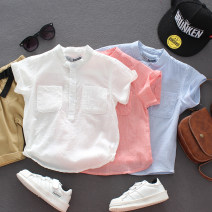 shirt White, blue, pink, fruit green, brown GUALITYBUY male [90] tag 90, [100] tag 100, [110] tag 110, [120] tag 120, [130] tag 130, [140] tag 140 summer Short sleeve Korean version Solid color Cotton and hemp stand collar CS405 Class B