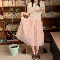skirt 51% (inclusive) - 70% (inclusive) Summer 2021 Medium length skirt High waist commute 18-24 years old Type A B6211219 other Retro S,M Orange powder, orange powder pre-sale