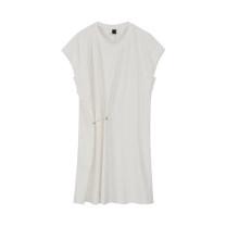 Dress Summer 2021 white S, M Mid length dress singleton  Short sleeve commute Crew neck Loose waist Solid color Socket Irregular skirt Flying sleeve Type H fold nylon