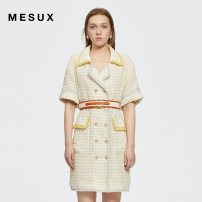 Dress Summer 2021 light yellow XS/155 S/160 M/165 L/170 Short skirt Short sleeve commute other High waist double-breasted other 30-34 years old Type H Mesux / MI Xiu Retro MJMUO401 91% (inclusive) - 95% (inclusive) polyester fiber Polyester 92% pan 7% others 1%