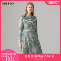 Dress Autumn 2020 Light green XS/155 S/160 M/165 longuette singleton  Long sleeves other High waist Single breasted other routine 30-34 years old Type X Mesux / MI Xiu MIFUO617 91% (inclusive) - 95% (inclusive) polyester fiber Polyester 92.9% polyamide 7.1%