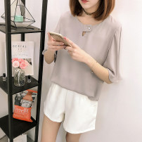 Lace / Chiffon Summer 2021 White, gray, pink M,L,XL,2XL,3XL,4XL Short sleeve Sweet Socket singleton  easy Regular Crew neck Solid color pagoda sleeve 30-34 years old Button 71% (inclusive) - 80% (inclusive) polyester fiber