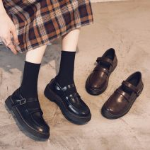 Low top shoes 39,38,37,36,35,40 Other / other Black, brown other Superfine fiber Flat bottom Flat heel (1cm or less) Shallow mouth PU Spring 2021 leisure time Color matching rubber Single shoes Waterproof platform, belt buckle PU motion F9