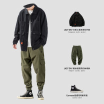 Jacket Other / other Youth fashion Black coat, army green coat, white coat, army green trousers, black trousers M,L,XL,2XL routine easy Other leisure autumn Long sleeves Wear out Lapel Japanese Retro teenagers routine Single breasted 2020 Cloth hem washing Closing sleeve Solid color cotton