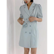 Dress Summer 2021 Yellow, blue Average size Short skirt singleton  Short sleeve commute tailored collar High waist Solid color double-breasted A-line skirt routine Others 25-29 years old Type A Other / other Korean version 30% and below other polyester fiber