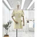 Dress Summer 2021 Blue, yellow, black Average size Short skirt singleton  Short sleeve commute tailored collar High waist Solid color double-breasted A-line skirt puff sleeve Others 25-29 years old Type A Other / other Korean version Button 30% and below other polyester fiber